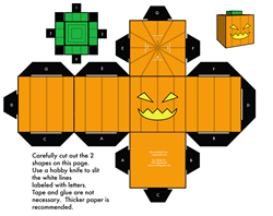 Paper toy halloween - citrouille