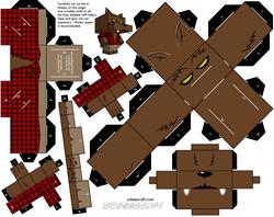 Paper toy halloween - loup garou