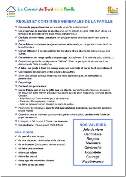Carnet de Bord de la Famille - Matrice 4 - Régles et consignes