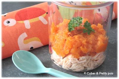 Parmentier citrouille patate douce saumon pour bébé